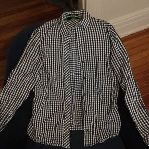 Navy and white checkered flannel shirt